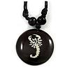 Unisex Black/ White Resin Medallion 'Scorpio' Cotton Cord Pendant - Adjustable