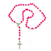 Long Neon Pink Bead Cross Rosary Necklace - 80cm Length