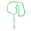 Long Neon Green Bead Cross Rosary Necklace - 80cm Length