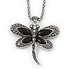 Vintage Hammered Butterfly Pendant On Thick Mesh Chain (Black/ Burn Silver) - 44cm Length/ 6cm Extension