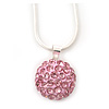Baby Pink Crystal Ball Pendant On Silver Tone Snake Style Chain - 40cm Length/ 4cm Extention