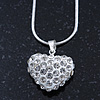 Clear Crystal 3D Heart Pendant On Silver Tone Snake Style Chain - 40cm Length/ 4cm Extention