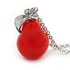 Red Resin 'Pear' Pendant With Long Silver Tone Oval Link Chain Necklace - 70cm Length