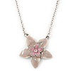 Pink Enamel Flower Pendant With Silver Tone Chain - 36cm Length/ 7cm Extension