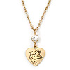 Crystal Heart Pendant With Gold Tone Chain - 40cm L/ 5cm Ext