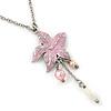 Pink Enamel 'Flower' With Beaded Tassel Pendant On Silver Tone Chain - 36cm Length/ 8cm Extension