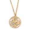 Matt Gold Tone Bird Medallion Pendant With Long Chain - 70cm L