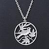 Light Silver Tone Bird Medallion Pendant With Long 70cm L chain