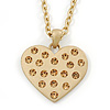 Matt Gold with Champagne Crystal Heart Pendant with Chain - 70cm L
