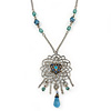 Vintage Inspired Filigree, Crystal Pendant With Light Blue Beaded Chain In Pewter Tone - 44cm Length/ 7cm Extender