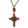 Vintage Inspired Red Crystal, Enamel Cross Pendant With Bronze Tone Chains - 46cm L/ 7cm Ext