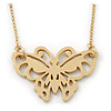 Small Matte Gold 'Butterfly' Pendant Necklace - 36cm Length/ 6cm Extension