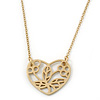 Matt Gold Open Heart Pendant With 38cm Length/ 5cm Extension Chain