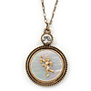 Long Vintage Inspired Mother of Pearl 'Angel' Pendant On Burnt Gold Chain Necklace - 72cm L/ 8cm Ext
