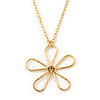 Open Hammered Daisy Flower Pendant With Gold Tone Chain - 38cm Length/ 8cm Extension