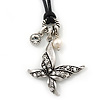 Vintage Inspired Crystal Butterfly & Bead Pendant On Black Waxed Cord - 36cm Length/ 8cm Extension