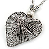 Oversized Wired Heart Pendant with Long Chunky Chain In Silver Tone - 80cm L/ 7cm Ext