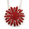 Dark Red Enamel Flower Pendant with Long Thick Silver Tone Chain - 86cm L
