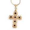 Victorian Style Filigree, Diamante Statement Cross Pendant With Gold Tone Snake Chain - 38cm Length/ 7cm Extension