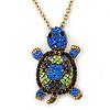 Light Green, Sapphire, Dark Blue Swarovski Crystal Turtle Pendant With Long Gold Tone Chain - 70cm Length/ 5cm Extension