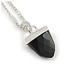 Small Black Crystal Acorn Pendant with Silver Tone Chain - 40cm L/ 6cm Ext