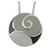 Grey Enamel Medallion Pendant with Silver Tone Chain - 74cm L
