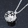 Black, White Enamel, Crystal Flower Ball Pendant With Silver Tone Chain - 40cm Length/ 5cm Extension