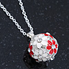 White, Red Enamel, Crystal Flower Ball Pendant With Silver Tone Chain - 40cm Length/ 5cm Extension