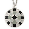 Grey/ Black Enamel Geometric Pattern Medallion Pendant with 76cm Silver Tone Chain