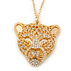 Exotic Swarovski Crystal 'Tiger' Pendant In Gold Plating - 74cm Length/ 9cm Extension