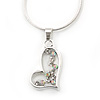 Open Heart Crystal Pendant With Silver Tone Snake Chain - 40cm Length/ 4cm Extension