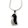 Cute Black Enamel, Crystal 'Penguin' Pendant With Snake Chain In Silver Tone - 40cm Length/ 5cm Extension