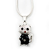 Cute Black Enamel, Crystal 'Kitten' Pendant With Snake Chain In Silver Tone - 40cm Length/ 5cm Extension
