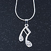 Silver Tone Crystal Musical Note Pendant With Snake Chain - 40cm Length/ 5cm Extension