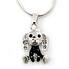 Small Crystal, Black Enamel Puppy Pendant With Silver Tone Snake Chain - 40cm Length/ 4cm Extension