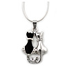 Silver Tone Crystal 'Two Cats' Pendant With Snake Chain - 40cm Length/ 5cm Extension