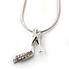 Small Crystal High Heel Shoe Pendant With Silver Tone Snake Chain - 40cm Length/ 4cm Extension