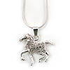 Silver Tone Clear Crystal 'Horse' Pendant With Snake Chain - 40cm Length/ 5cm Extension