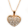 Pave Set Crystal Heart Pendant With Gold Tone Chain - 40cm Length