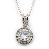 12mm Clear CZ Round Pendant With Silver Tone Chain - 40cm Length