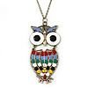 Oversized Multicoloured Enamel Owl Pendant With Long Bronze Tone Chain - 80cm Length