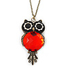 Vintage Inspired Black, Red Owl Pendant With Long Bronze Tone Chain - 80cm Length