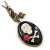 Vintage Inspired Skull & Bones Locket Pendant With Long Bronze Tone Chain - 80cm Lenght