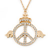 Crystal 'Peace In The Crown' Pendant With Long Chain In Gold Plating - 74cm Length/ 9cm Extension