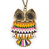 Oversized Multicoloured Enamel Owl Pendant with Long Burnt Gold Chain - 74cm L
