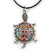 Multi Crystal Turtle Pendant With Black Leather Cord In Burnt Silver Tone - 40cm L/ 4cm Ext
