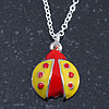Children's/ Teen's / Kid's Yellow, Red Enamel Ladybug Pendant With Silver Tone Chain - 38cm L