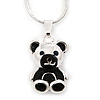 Silver Tone Black Enamel Teddy Bear Pendant With Snake Type Chain - 40cm L/ 4cm Ext