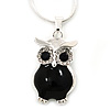 Clear Crystal Black Enamel Owl Pendant With Silver Tone Snake Type Chain - 40cm L/ 4cm Ext