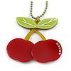 Dark Red/ Light Green Acrylic Cherry Pendant With Green Beaded Chain - 44cm L